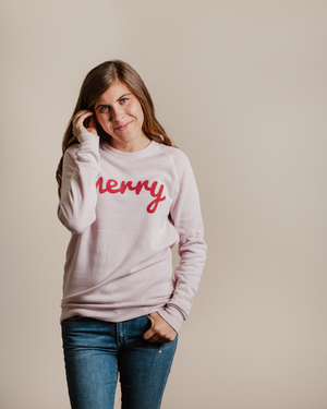 Merry Fleece Sweatshirt | Faded Pink