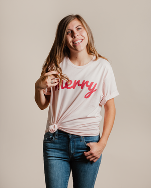Merry Cotton Tee - Faded Pink