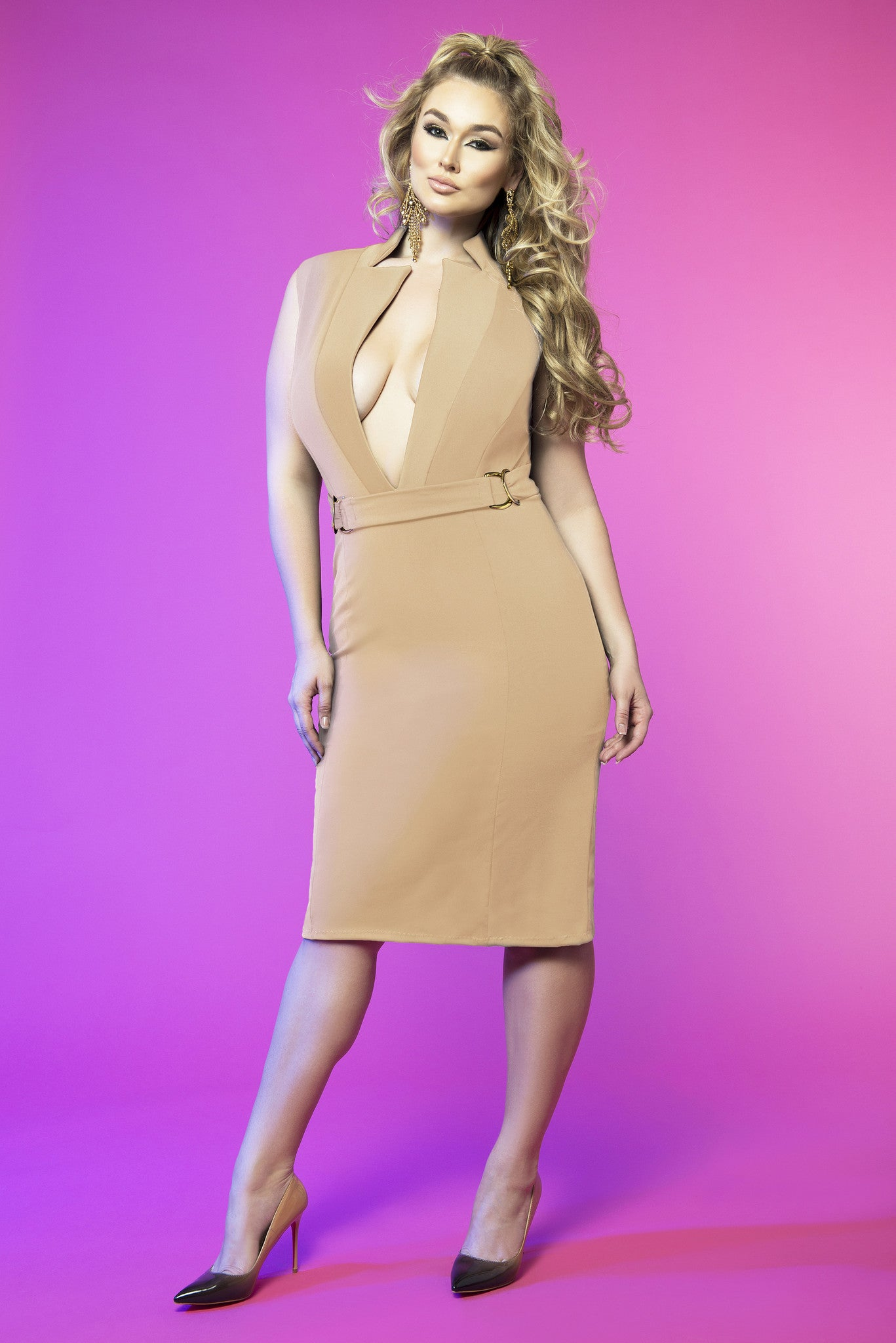 Deep V Neck Dress (Nude)