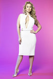 Deep V Neck Dress (White)