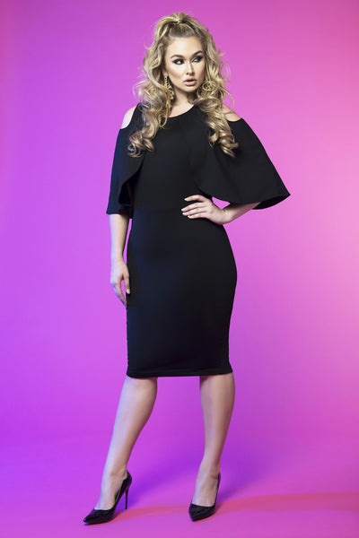 Cold Shoulder Capelet Dress (Black)