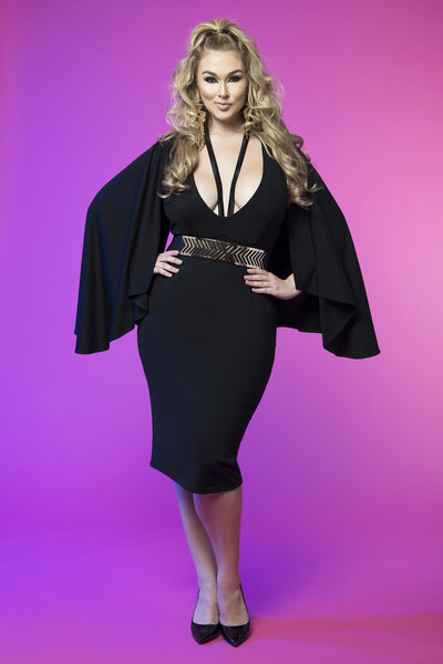 Cape Sleeve Harness Dress (Black)