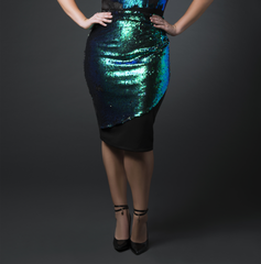 Sequin Flap Skirt (Black and Green 2 Way)