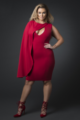 Half Cape V Neck Dress (Red)