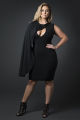 Half Cape V Neck Dress (Black)