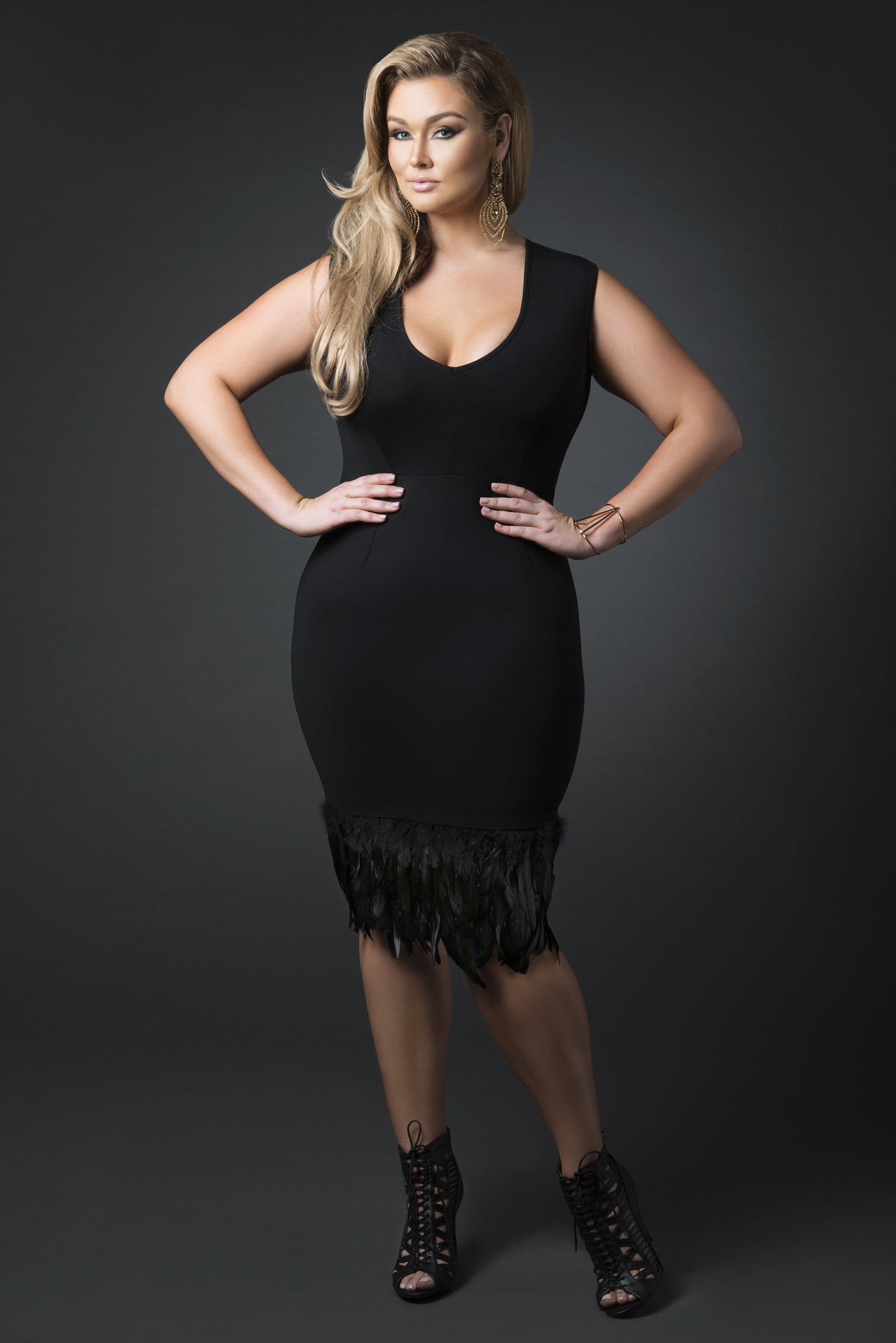 V Neck Feather Trim Cocktail Dress- Black