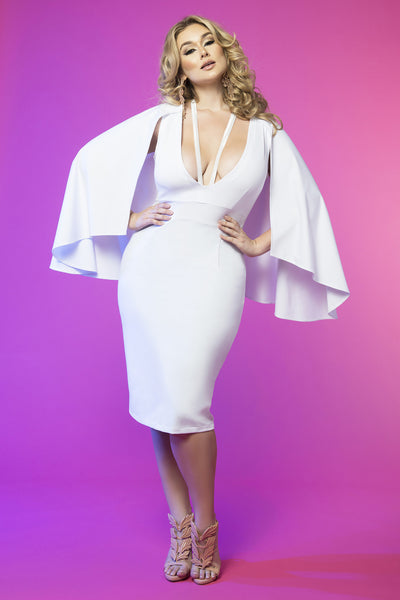 Cape Sleeve Harness Dress (White)