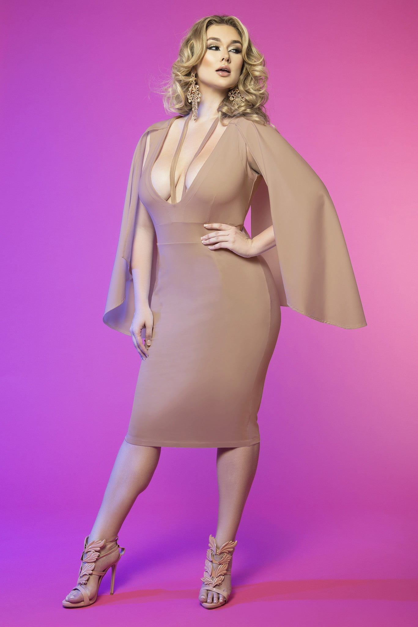 Cape Sleeve Harness Dress (Nude)
