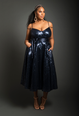 A-Line Sequin Tea Length Dress (Navy)