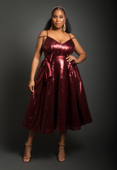 A-Line Sequin Tea Length Dress (Wine)