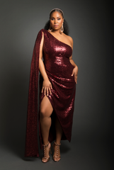 Sequin Half Cape Gown (Wine)