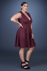 A Line Ruffle Dress- Plum
