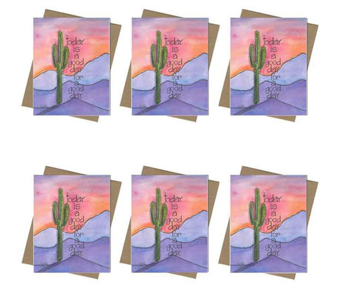 Today is a Good Day Southwest Mountains and Cactus Note Card Set