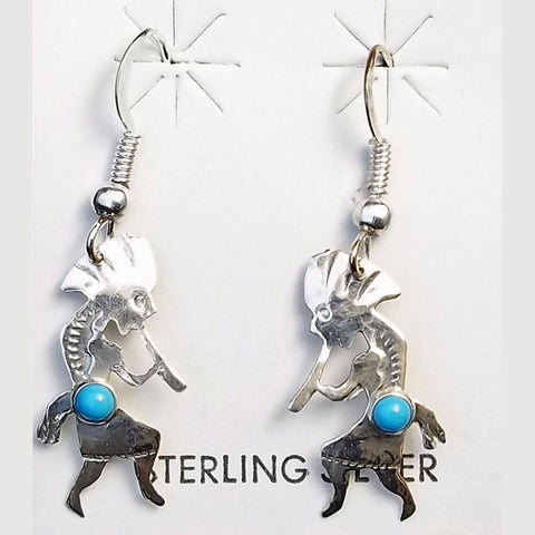 Sterling Silver and Turquoise Kokopelli Southwest Earrings