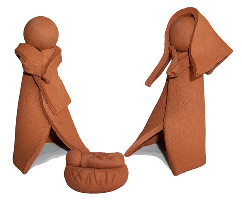 Handcrafted Southwest Terra Cotta 3-Piece Nativity Set