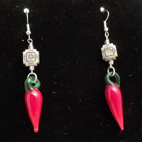 Blown Glass Red Chili Pepper Earrings Artisan Crafted