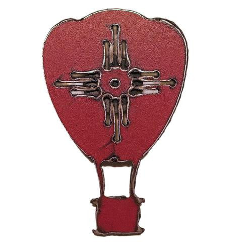 Plasma Cut Red Balloon Magnet with New Mexico Zia Sun
