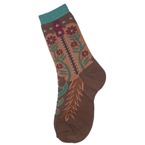Flower Boots Southwest Print Socks Women's Size 8-11