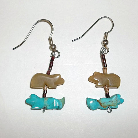 Navajo Indian Animal Fetish Earrings