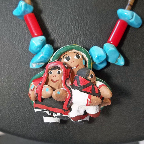 Native American Storyteller Handpainted Necklace