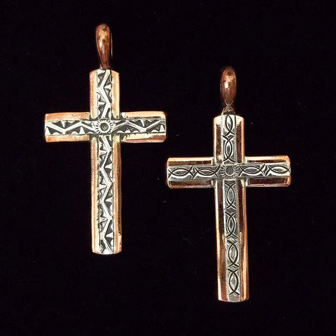 Navajo Artisan Copper and Sterling Overlay Cross Pendant