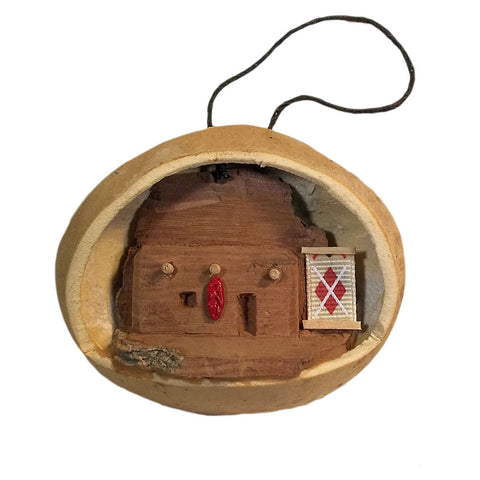 Hand-Carved Artisan Christmas Ornament Southwest Adobe House in Gourd