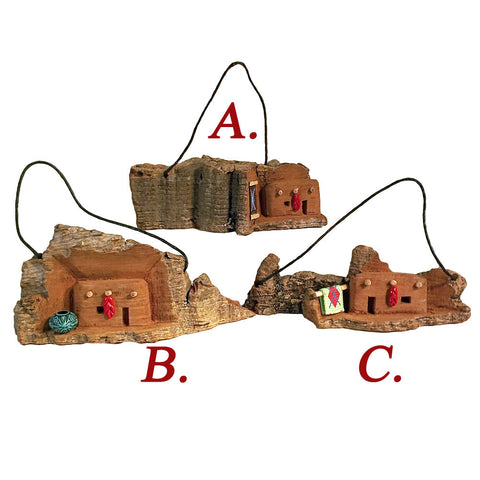 "Southwest Adobe House Christmas Ornament 3"" x 1.5"" Hand-Carved Mountain Landscape"