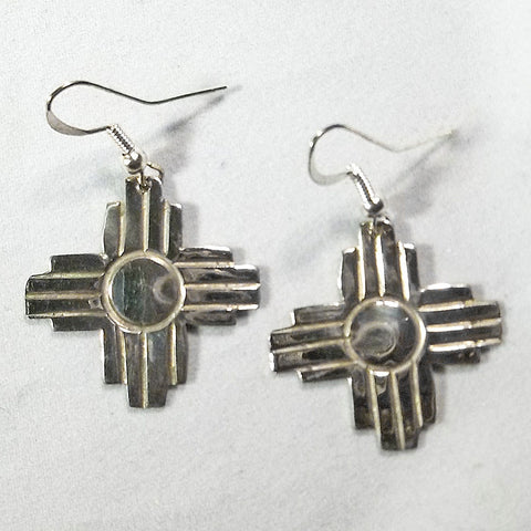 "Sterling Silver New Mexico Zia Earrings 1.75"" Navajo Artist Ed Abeyta"
