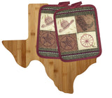 Totally Bamboo Texas Cutting Board Gift Set with Matching Cowboy Potholders