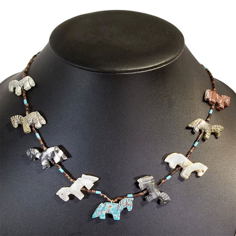 Navajo Artisan Horse Fetish Mixed Stone Necklace 21""