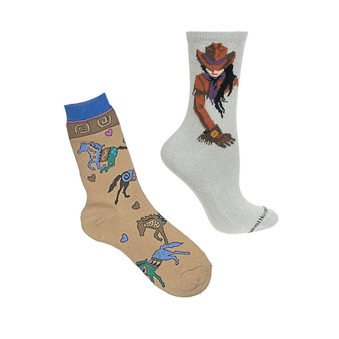 Women's Wheel House Cowgirl Socks with Ace USA Home on the Range Running Horse Socks (2 Pair Bundle)