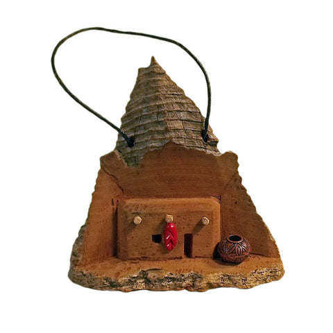 Southwest Adobe House Christmas Ornament  Hand-Carved Cottonwood