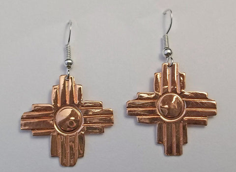 Copper and Sterling New Mexico Zia Earrings by Navajo Artist