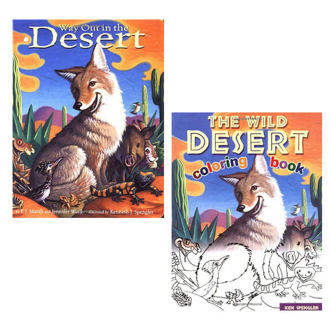 Way Out in the Desert Children's Board Book and Coloring Book Gift Set