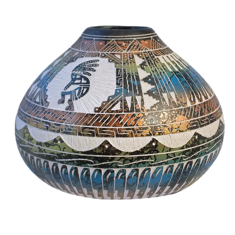 Navajo Etched Pot Artist Myron Charley Blue Green Metallic