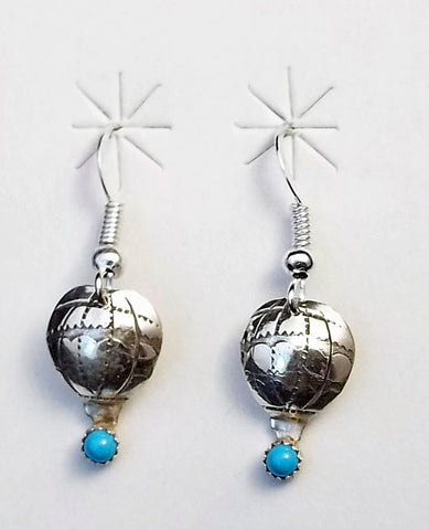 Petite Silver & Turquoise Hot Air Balloon Earrings AIBF