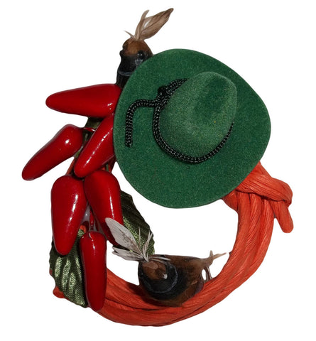 Western Quail Cowboy Wreath Christmas Magnet / Ornament