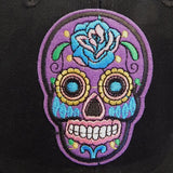 Day of the Dead Black Baseball Cap with Embroidered Sugar Skull Calavera Applique in Assorted Colors