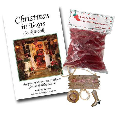 Christmas in Texas Cookbook, Red Chili Pepper Mini Christmas Light Covers, and Cowboy Boots and Hat Tree Ornament