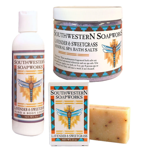 Southwestern Soapworks Lavender and Sweetgrass  Gift Set with Bath Salts, Body Lotion, and Handmade Glycerin Soap