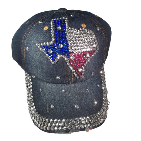 Texas Map Bling Distressed Denim and Rhinestone Baseball Cap