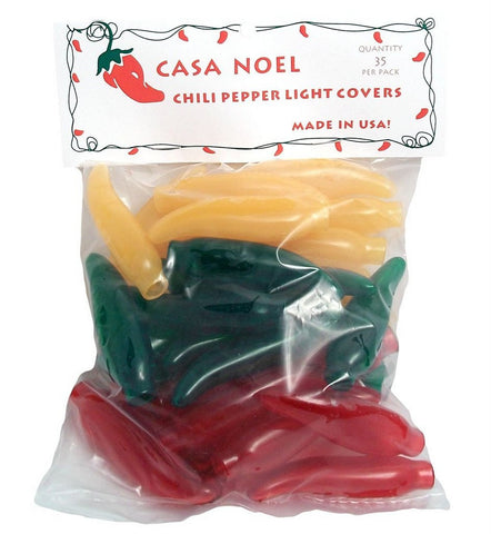 Chili Pepper Christmas Tree Light Covers Pack of 35 - Choose from a Variety of Colors