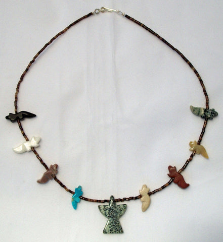 Navajo Native American Animal Fetish Necklace with Thunderbird Pendant