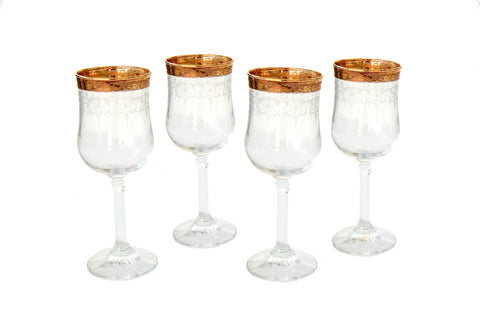 Gold Rimmed Wine Glasses with Floral Motif