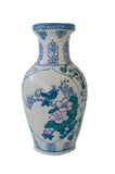 Blue + White Vase with Bird and Floral Motif