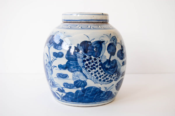 Large Blue + White Ginger Jar - Koi Fish