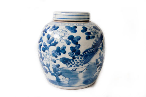 Large Blue and White Ginger Jar - Long Tail Bird