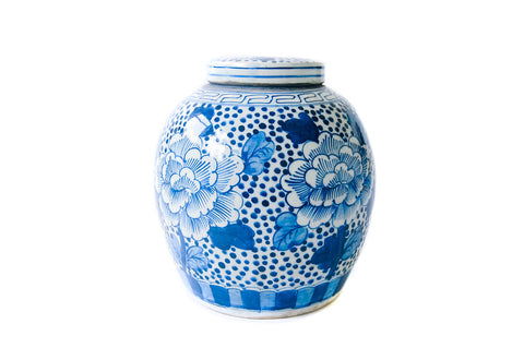 Large Blue and White Ginger Jar - Peony