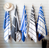 Aqua + White Striped Fouta