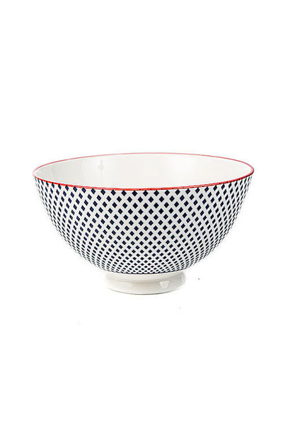 Blue + White Porcelain Dot Bowl